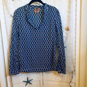 Tory Burch blue/white pattern long sleeve tunic.